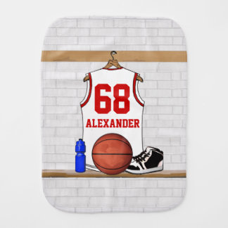 Personalized White and Red Basketball Jersey Baby Burp Cloths