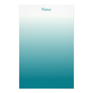 Personalized White and Teal Ombre Personalized Stationery