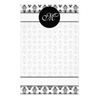 Personalized White & Black Damask Unlined Monogram Stationery
