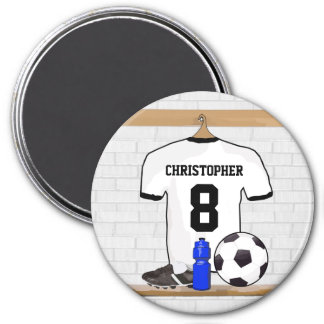 Personalized White Black Football Soccer Jersey 7.5 Cm Round Magnet