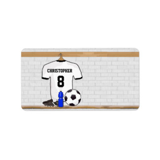 Personalized White Black Football Soccer Jersey Address Label