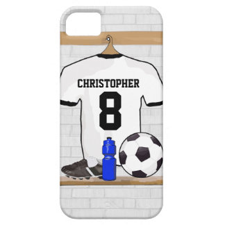 Personalized White Black Football Soccer Jersey Barely There iPhone 5 Case