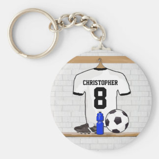 Personalized White Black Football Soccer Jersey Basic Round Button Key Ring