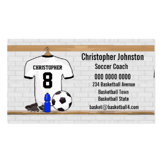 Personalized White Black Football Soccer Jersey Pack Of Standard Business Cards