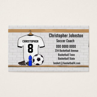 Personalized White Black Football Soccer Jersey Business Card