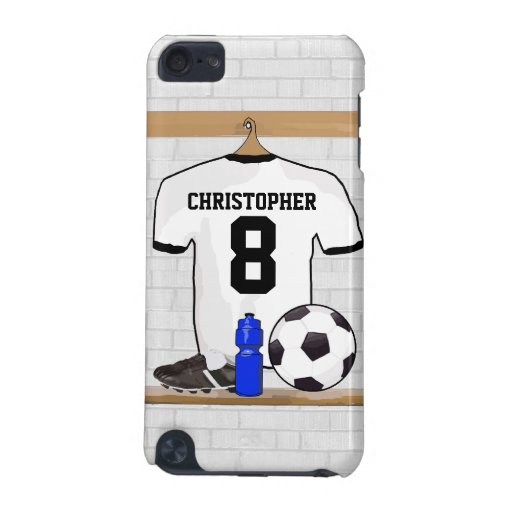Personalized White | Black Football Soccer Jersey iPod Touch (5th Generation) Covers