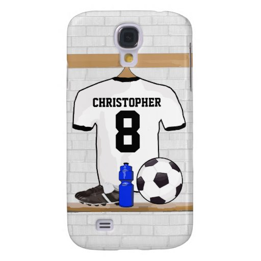 Personalized White | Black Football Soccer Jersey Galaxy S4 Cover