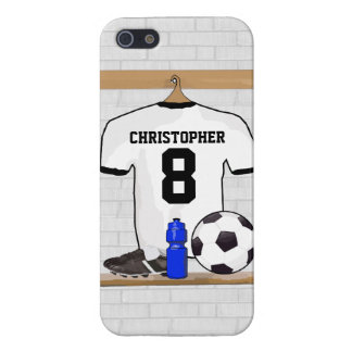Personalized White Black Football Soccer Jersey Case For iPhone 5/5S