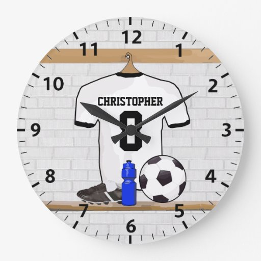 Personalized White | Black Football Soccer Jersey Clock