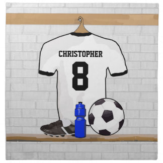 Personalized White Black Football Soccer Jersey Cloth Napkins