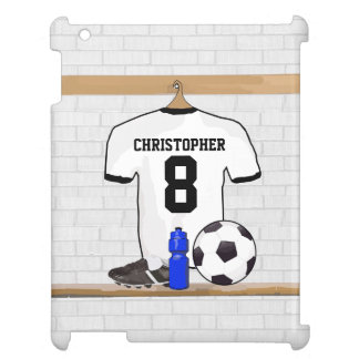Personalized White Black Football Soccer Jersey Cover For The iPad