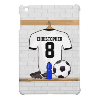 Personalized White Black Football Soccer Jersey iPad Mini Cover