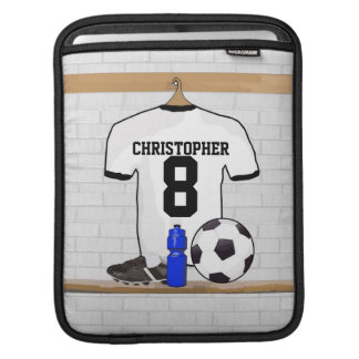 Personalized White Black Football Soccer Jersey iPad Sleeve