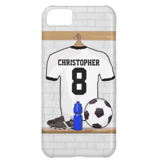 Personalized White Black Football Soccer Jersey iPhone 5C Case