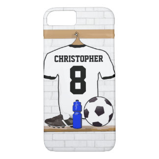 Personalized White Black Football Soccer Jersey iPhone 8/7 Case