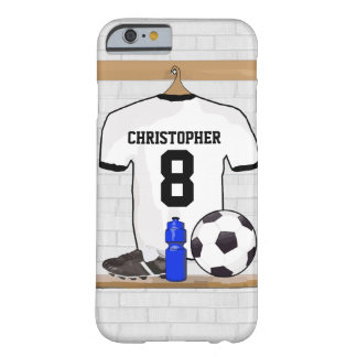 Personalized White Black Football Soccer Jersey iPhone 6 Case