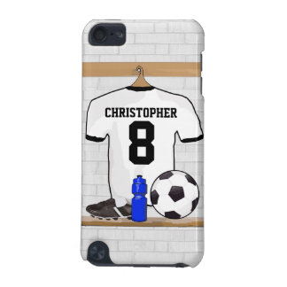 Personalized White Black Football Soccer Jersey iPod Touch (5th Generation) Case