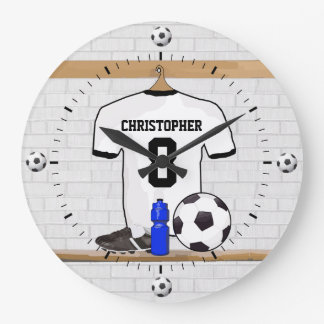 Personalized White Black Football Soccer Jersey Large Clock