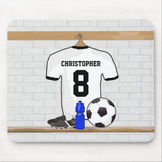 Personalized White Black Football Soccer Jersey Mouse Mat