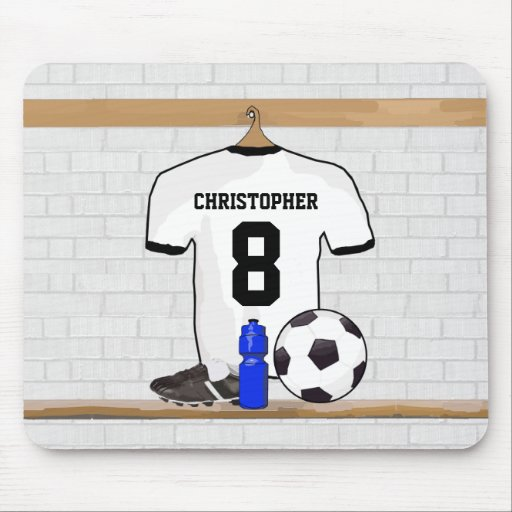 Personalized White | Black Football Soccer Jersey Mousepad