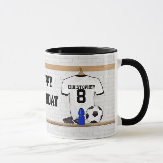 Personalized White Black Football Soccer Jersey Mug