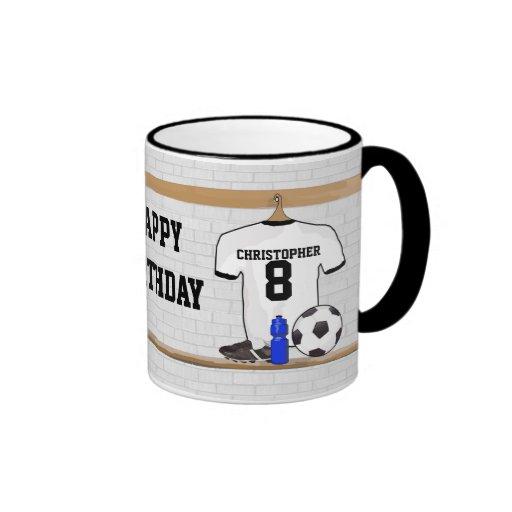 Personalized White | Black Football Soccer Jersey Coffee Mug