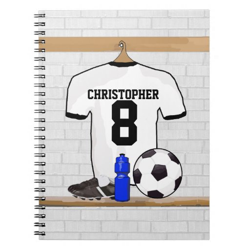 Personalized White | Black Football Soccer Jersey Notebooks