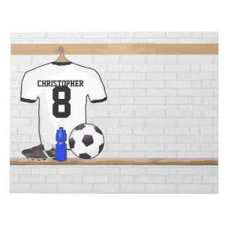 Personalized White Black Football Soccer Jersey Notepad
