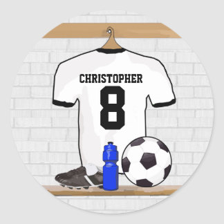 Personalized White Black Football Soccer Jersey Round Sticker