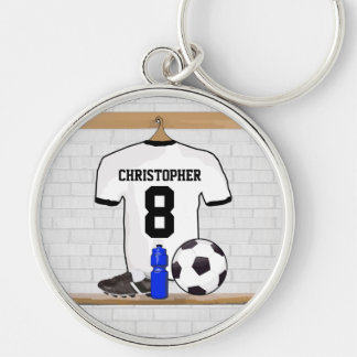 Personalized White Black Football Soccer Jersey Silver-Colored Round Key Ring