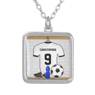 Personalized White Black Football Soccer Jersey Silver Plated Necklace