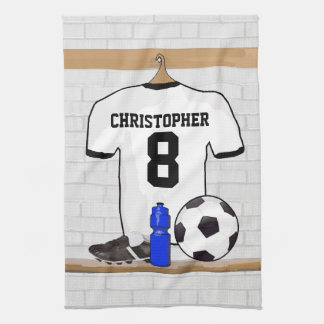 Personalized White Black Football Soccer Jersey Tea Towel