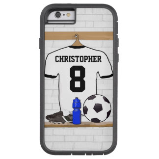 Personalized White Black Football Soccer Jersey Tough Xtreme iPhone 6 Case