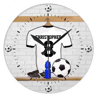 Personalized White Black Football Soccer Jersey Wallclock