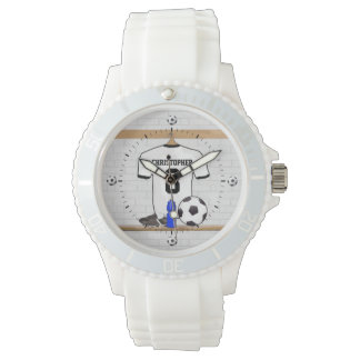 Personalized White Black Football Soccer Jersey Wristwatch