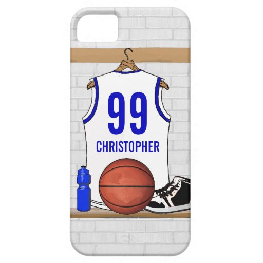Personalized white Blue Basketball Jersey iPhone 5 Case