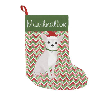 Personalized White Chihuahua with Santa Hat Small Christmas Stocking