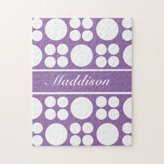 Personalized White Dot Pattern on Ce Soir Purple Jigsaw Puzzle