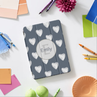 Personalized White Hearts Navy Blue iPad Pro Cover