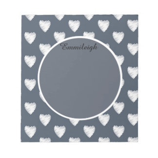 Personalized White Hearts Navy Blue Notepad
