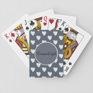 Personalized White Hearts Navy Blue Playing Cards