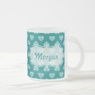 Personalized White Hearts Teal Pattern Coffee Mugs