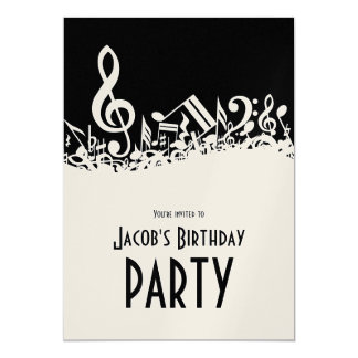Personalized White Jumbled Musical Notes on Black 13 Cm X 18 Cm Invitation Card