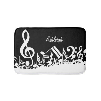 Personalized White Jumbled Musical Notes on Black Bath Mats