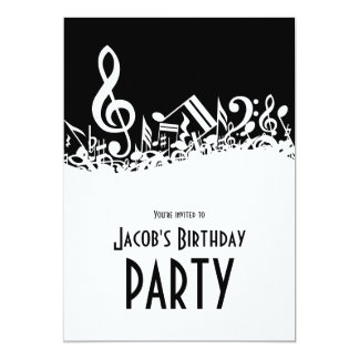 Personalized White Jumbled Musical Notes on Black Card