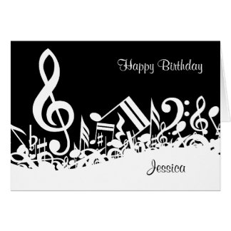 Personalized White Jumbled Musical Notes on Black Greeting Card