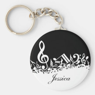 Personalized White Jumbled Musical Notes on Black Basic Round Button Key Ring