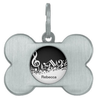 Personalized White Jumbled Musical Notes on Black Pet Name Tag