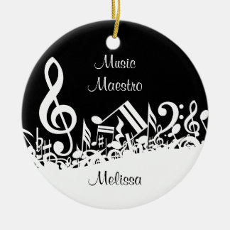 Personalized White Jumbled Musical Notes on Black Round Ceramic Decoration