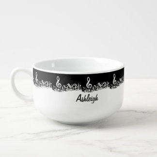 Personalized White Jumbled Musical Notes on Black Soup Bowl With Handle